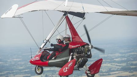 Archant reporter Amy Smith flying with Gary Taylor from Mid Anglia Microlights.