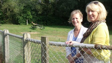 Sylvia Knights, right, and previous mayor Judy Cloke at the Outney Common play park that is being re