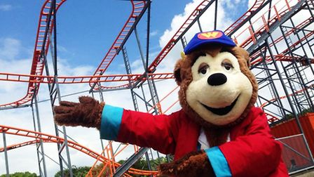 Woody Bear with Marble Madness, a new ride at Pleasurewood Hills.