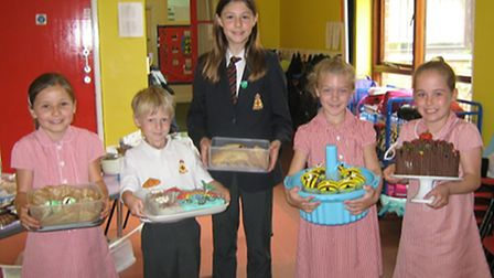 Pupils from St Benet's Primary school with their baked goodies