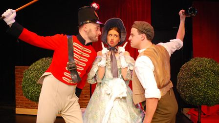 A scene from the Merry Opera Company's Kiss Me, Figaro, which is being performed at Beccles Public H