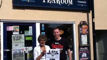 James Maas and Caroline of Rosy Lee's Tearooms promote the festival.