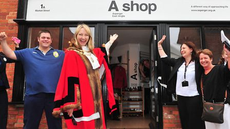 Town Mayor Caroline Topping opens the new Asperger Syndrome charity shop in Beccles.