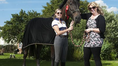 (right) Rachel Burton and Georgie Bell with Bruno who is looking to qualify for next years Badminton
