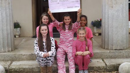 Some of the girls who took part in Langley School's Race for Life event.