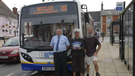 David Laverick (BordeBus driver) and Nicky and Graham Elliott (Green councillors) with the new bus t