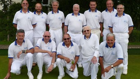 The Bungay Bowls Club team that won the Bert Edwards Cup line up for the camera. Back row (left to