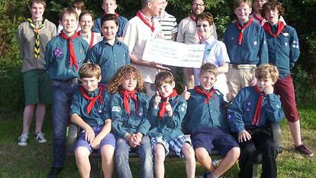 The Loddon Scouts presenting their cheque to Heather Babb, local ShelterBox representative.