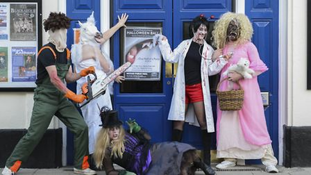 Some of the organisers dressed up ready for the Halloween Ball at Beccles Public Hall.