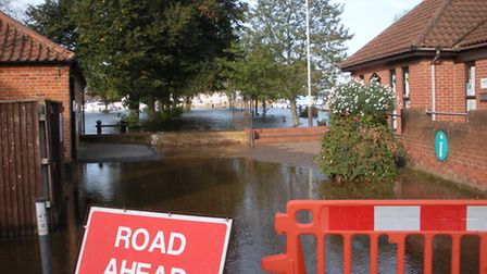 A large area around Beccles Quay was under water after the River Waveney burst its banks.