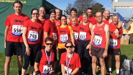 SEASIDERS: Some of the BBDRC contingent who ran in Mablethorpe.