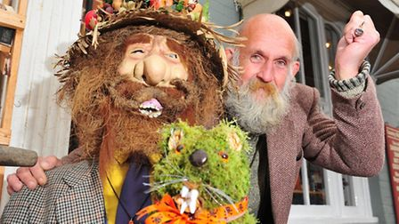 Les Tennet with his winning scarecrow at last year's Halesworth Scarecrow Festival
