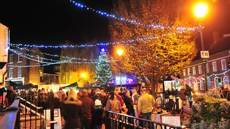 Crowds enjoying the Beccles Christmas lights switch on last year.