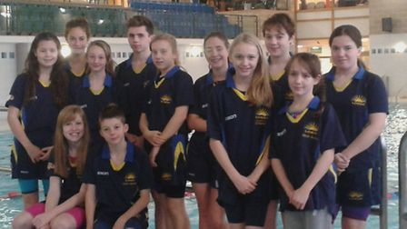 TOP SQUAD: Lowestoft and Oulton Broad Swimming Club youngsters who competed at Norwichs UEA.