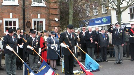 The two minutes silence on Armistice Day being observed at Beccles town centre.