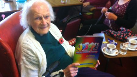 Lillian Allen with her programme from Joseph and the Amazing Technicolour Dreamcoat
