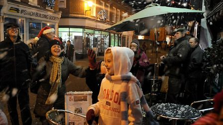 Peter Purves and Santa liught up the town centre in Halesworth on Saturday night as the Christmas li