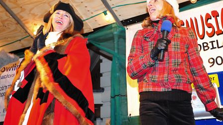 Beccles Christmas light switch on.Town mayor Caroline Topping and BBC weather girl Julie Reinger swi