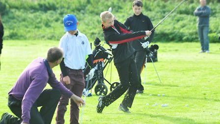 Bungay and Waveney Golf Club Pro Andrew Collison teaching the juniors on a Saturday morning.