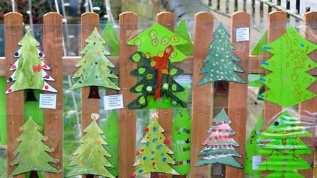 Local school children have helped decorate the surronds of the Bungay Christmas tree.