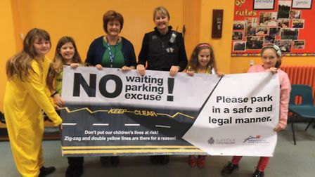 Crowfoot Primary pupils with PCSO Deborah Green, who spoke to the school about pedestrian and cycle