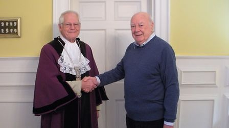 Terry Reeve, who has been installed as the new Town Reeve of Bungay, with outgoing reeve Michael Dav