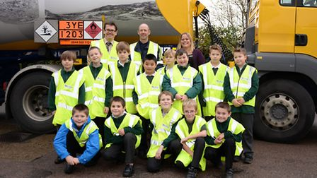Pupils from Edgar Sewter Primary School, Halesworth, learn about tanker deliveries at Hammonds garag