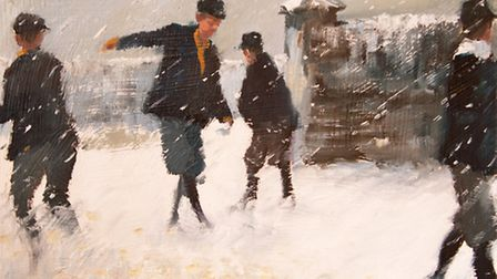 """""""Snowballs"""" painted by Mary Grundy."""