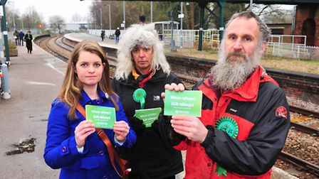 Green Party activisits campaigning against rail fare increases.Elfrede Brambley-Crawshaw, Nicky Elli