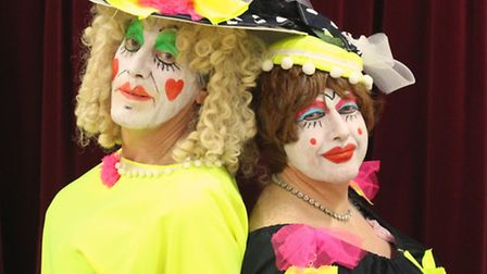 """The ugly sisters, Roger Ley and Stuart Richardson, who are starring in the Circle 67 Pantomime """"Cind"""