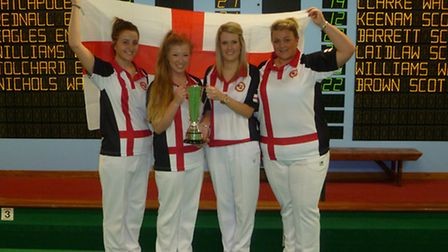 ENGLANDS BEST: Worlinghams Louise Catchpole, third from the left, with England team-mates Paige Denn