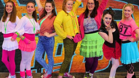 Some of the Rising Stars cast in rehearsls for their forthcoming production of Back to the 80s.