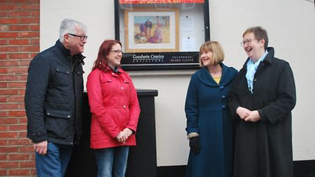 Peter Shannon display case organiser, Jennie Robinson chairman of Beccles Society Of Artists, Barbar