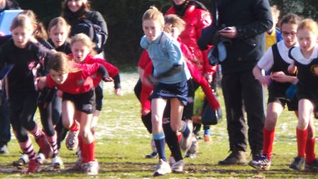 Grace Forster, in blue, on the start line at Trinity School, Brentwood.