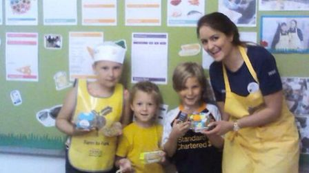 Natalie Clement with some of the children taking part in the Farm to Fork initiative.
