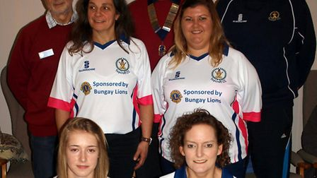 Topcroft Ladies Cricket Team in their new kit.David Lewis and Michael Gardiner from Bungay Lions wit