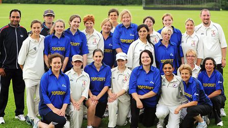 The Topcroft women's cricket team with the German All Stars.