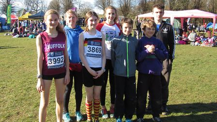 Beccles and Bungay Harriers at Birmingham, from left to right: Cara Howe, Lynn and Lucy Emmett, Laur