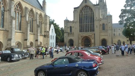 Classic cars at the start of last year's Open Churches Classic Car Run at Norwich Cathedral