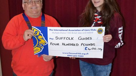 Chris Eglington, president of Beccles and District Lions Club, with Ellen Rogers who will be travell