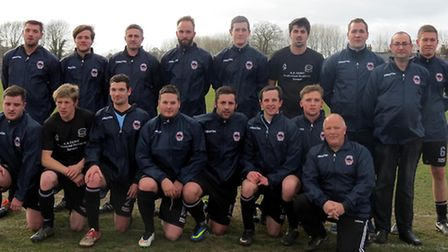Champions! Bungay Town in their new warm-up tops, thanks to sponsorship from the Chequers Inn in Bri