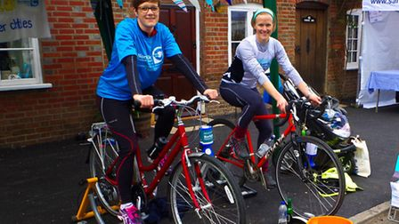 Jo Ivens (left) and Jennifer Brewin preparing to cycle 150 miles in memory of their mother