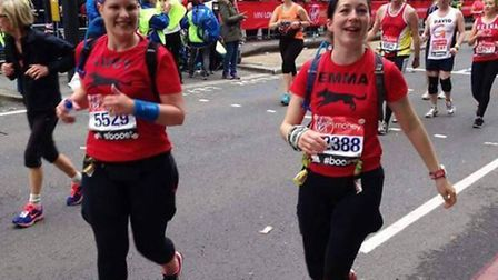 Lucy Johnstone and Emma Cowley who eventually crossed the finish line hand in hand