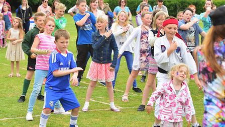 Youngsters from Crowfoot Primary School,Beccles take part in a big dance for Macmillan Cancer suppor