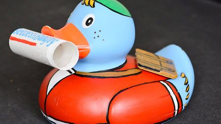 Michelle Payne who has painted the Beccles and Bungay Journal duck for the Beccles Duck Race.Picture
