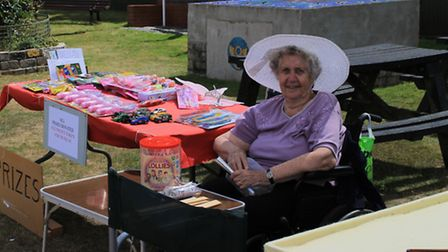 Margaret Last takes a break at the Norfolk and Suffolk Aviation Museum fun day