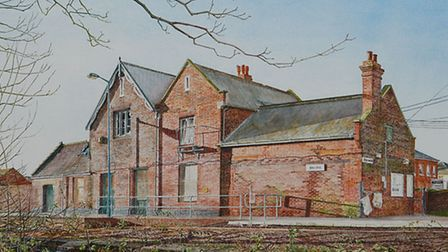 Colin Blake's detailed watercolour study of Beccles Railway Station before its current refurbishment