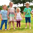 Belsey Bridge conference centre, Ditchingham, Fun Day. Youngsters, Oliver and Lilia Wilson with Eliz