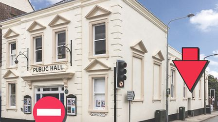 The temporary box office at Beccles Public Hall.