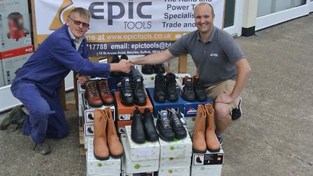 Epic Tools handover boots to Clinks Care Farm.
